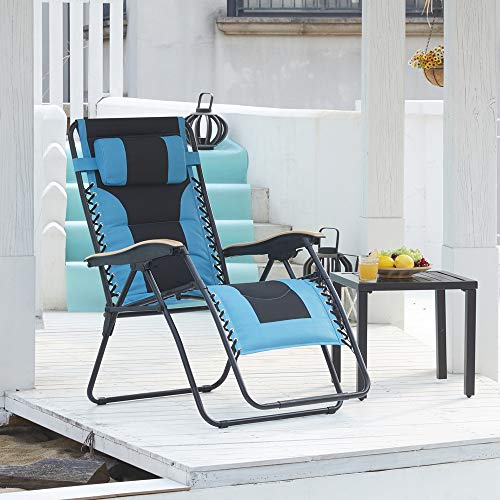 VICLLAX Zero Gravity Lounge Chair, XL Padded Patio Folding Recliners