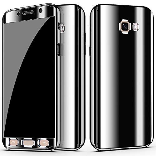 niter Funda para Samsung Galaxy A5 2017 | A7 2017 con espejo para teléfono móvil 3 en 1, ultrafina, PC rígida, 360 grados, protector de pantalla de cristal blindado (A5 2017), color negro