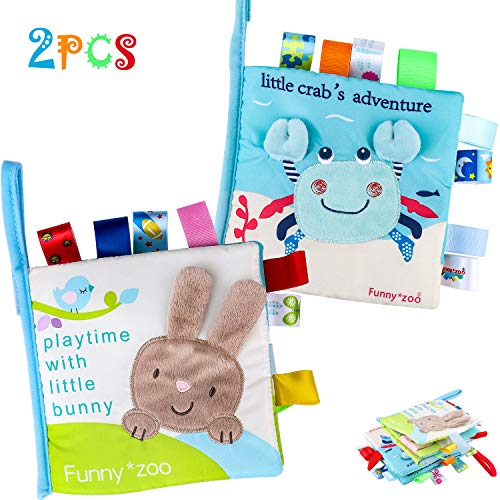 Tinabless Baby Soft Book Cloth Book, 2 Pack Nontoxic Fabric Baby Cloth Books Early Education Toys Activity Crinkle Cloth Book for Toddler, Infants and Kids