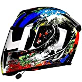 Bluetooth Integrado Casco de Moto Modular con Doble Visera Cascos de Motocicleta a Prueba de Viento ECE Homologado para Adultos Hombres Mujeres C,M