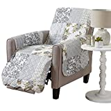 Patchwork Scalloped Printed Furniture Protector. Stain Resistant Recliner Cover. (Recliner, Grey)