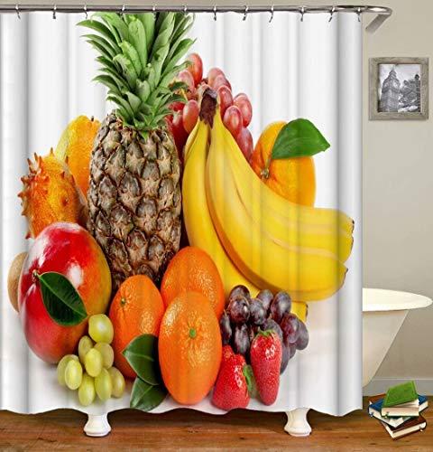 LGY Ananas. Banane. Apfel. Duschvorhang. Badezimmerzubehör. Wasserdicht. Enthält 12 Haken. Duschvorhangstangenringhaken. Hintergr&. Party. Wohnzimmer.