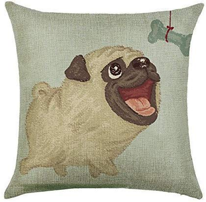 PotteLove 18x18 Inches Apricot Yellow Pug Bone Pattern Cotton Linen Durable Throw Cushion Cover Pillow Case for Livingroom Sofa Car Office Chair