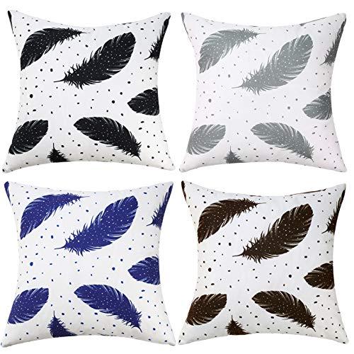 Hanrunsi Fundas decorativas de almohadas de 45,7 x 45,7 cm, plumas blancas, 45 x 45,7 cm, para sofá, al aire libre, sala de estar, jardín, paquete de 4 fundas cuadradas con patrón de dos lados