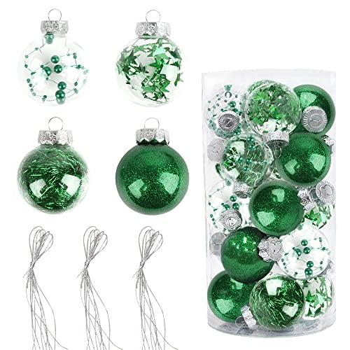 Bolas de Navidad Pintadas 6cm, Speyang Bolas de Árbol de Navidad Adorno, Esfera Transparente Plastico, Decoración de Bolas de Navidad Arbol, para Fiesta Decoraciones Festivales(20 Piezas) (Verde)
