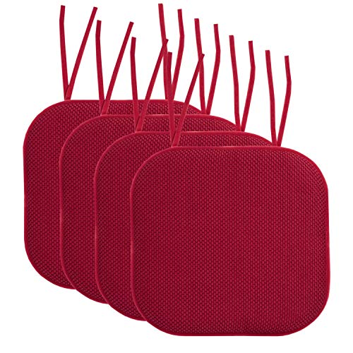 Sweet Home Collection Chair Cushion Memory Foam Pads with...