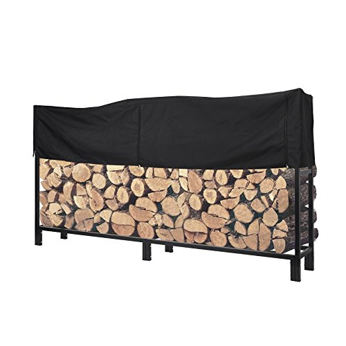 Pinty Ultra Duty Outdoor Firewood Log Rack with Cover Fireplace Wood Holder (8 Foot)