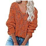 Shopler Suéter de punto de cable para mujer, casual, holgado, manga larga, cuello en V, hueco, de punto, para exteriores, naranja, XL