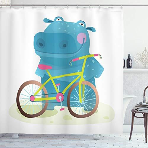 ABAKUHAUS Nilpferd Duschvorhang, Hippo Kind mit Fahrrad, mit 12 Ringe Set Wasserdicht Stielvoll Modern Farbfest & Schimmel Resistent, 175x200 cm, Mehrfarbig