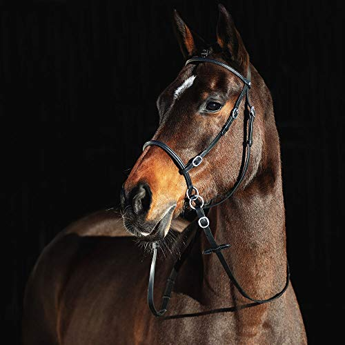 HORZE Leather Bitless Bridle - COB, Black(BL)