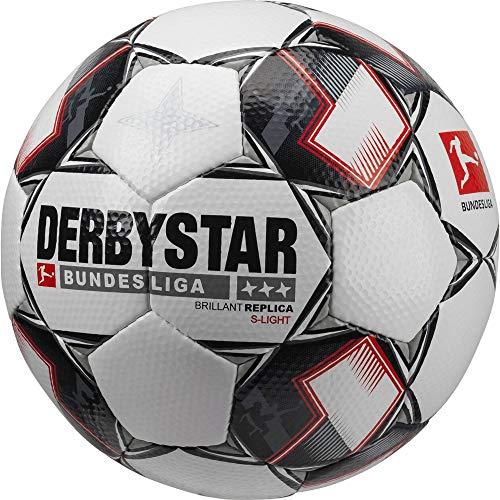 Derbystar Fußball Brilliant Ball, Weiß/Schwarz/Rot, 4