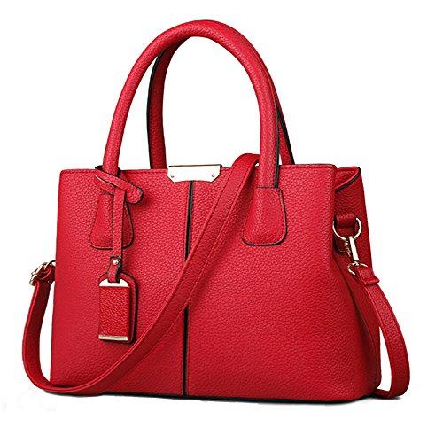 FiveloveTwo Dame Classy Satchel Handtasche Tote Handtasche Griff Tasche Umhangetasche, Burgund, 1