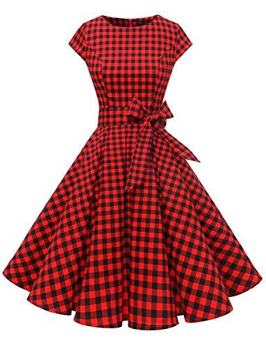 Dressystar - Vestido de cóctel para mujer, diseño vintage 50'S 60'S Audrey Hepburn pin up Small Blackred Grid XS-S