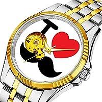 男性の人格ダイヤル&クリアウィンドウのためのカジュアルメンズ自動機械式時計高級ブランドカジュアルスポーツウォッチ 464. 私は口ひげの腕時計が大好き