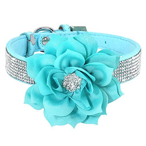 WWHPVP Collar De Perro De Diamantes De Imitación, con Accesorios De Flores Cuero De Gato De Gamuza Suave Collar De Collar De Cachorros para Pequeños Gatos De Perros Medios,Azul,35~42cm