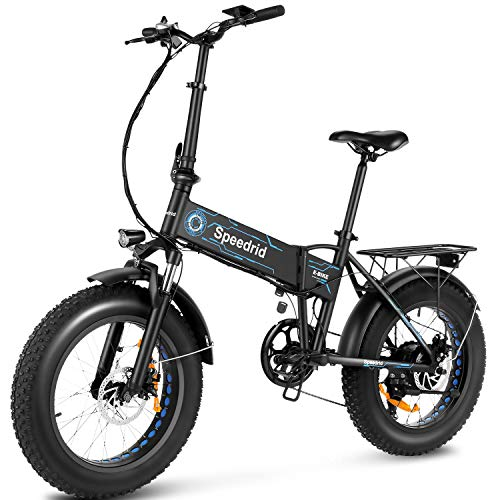 """Speedrid Folding Electric Bike Fat Tire Electric Bike 20"""" 4.0, 500W Powerful Motor, 36V 12.5Ah Removable Battery and Professional 6 Speed"""
