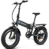 Speedrid Folding Ebike Fat Tire Electric Bike 20' 4.0, 500W Powerful Motor, 36V 12.5Ah Removable Battery and Professional 6 Speed (Blue)
