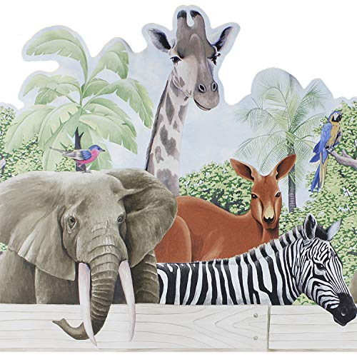 Jungle Animals Wall Accent Border - Zebra Elephant Wallpaper Accent Mural by store51