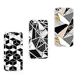 Everainy 3 Paquete Funda Compatible para iPhone 5/iPhone 5s/iPhone SE 2016 Silicona Bumper Ultrafina Mármol Motivo Tapa Goma Case Antigolpes Resistente Protección Cover (Diamante/Negro/Oro)