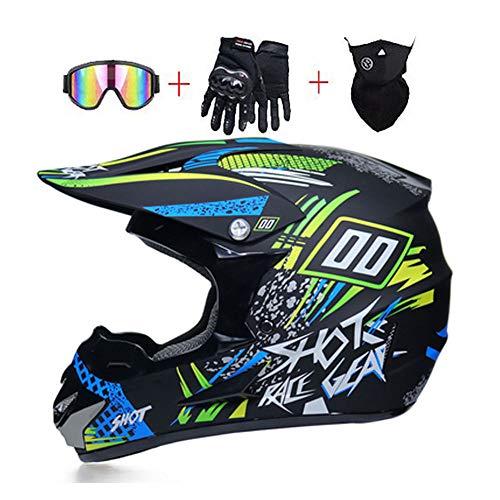 Mrddz Adultos Cascos de Motocross de Motos con Gafas Máscara Guantes Unisex,...