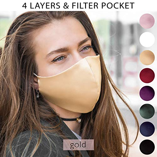 Satin Silk Face Mask Gold Nude Washable US | 4 Layer Reusable with Filter Pocket Wedding Masks | 1 PC Womens Breathable Mouth Cover for Bride Guests Groom and Bridesmaids | Handmade in USA