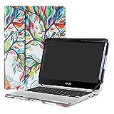 Alapmk Diseñado Especialmente La Funda Protectora de Cuero de PU para 12.5' ASUS Chromebook Flip C302CA Ordenador portátil,Love Tree