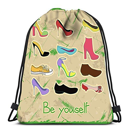 Lmtt Drawstring Bags Backpack Vintage Be Yourself Travel Backpacks Tote School Rucksack
