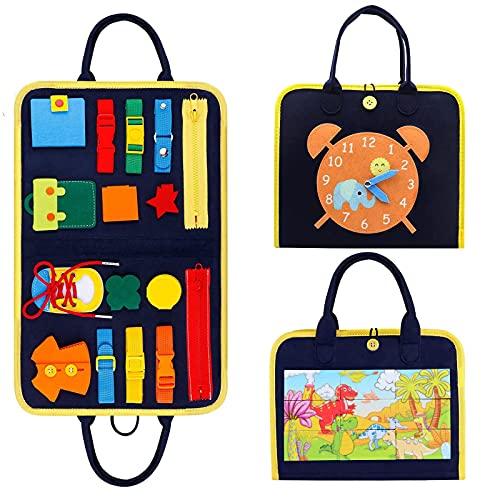 TOLOYE Busy Board para Niños,Juguetes Temprano de Habilidades Básicas, Aprender a Habilidades Básicas Vestirse,Juguetes Sensoriales Montessori para Bebés niños pequeños Regalo