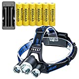 LED 8000 Lumens Headlamp Flashlight ,with 6PCS 3.7V 9900mAh Rechargeable 18650 Battery + Batteries Charger,Waterproof 4 Modes Bright Headlight for Cycling Camping Running Fishing