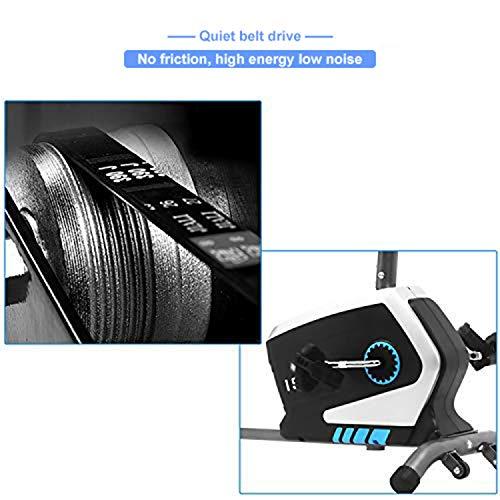 ISE Magnetic Horizontal Exercise Bike with 8 Resistance Levels & Adjustable Saddle, Fitness Bike with Backrest, Integrated Pulsation Sensors, Max. 120 kg, Super-silent, SY-6801