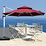 Patiassy 10 Ft Double Top Windproof Offset Patio Umbrella Outdoor Round Umbrella Large Cantilever Umbrella with Heavy Duty No Rust Aluminum Frame for Garden, Backyard and Pool - Red