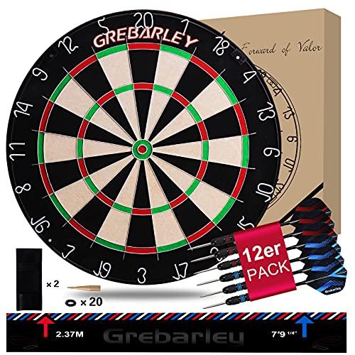 Grebarley Dartscheibe Kork Dartscheibe mit Pfeilen Offizielles Turniermaß Dart Scheibe Dartboard Steeldartscheibe Steeldart Sisal Dartscheiben Set Schutz
