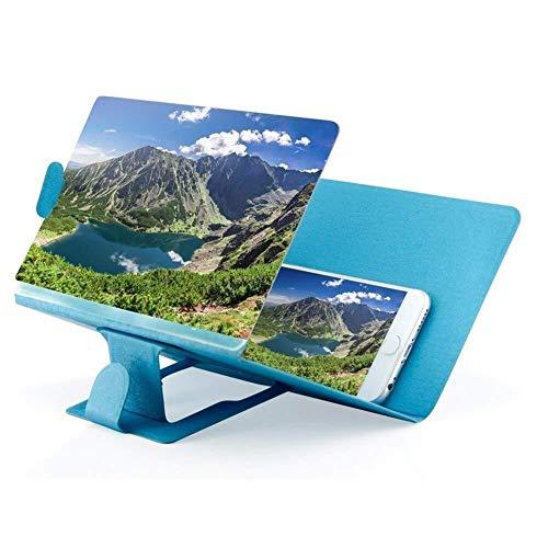 LOOEST Pantalla Teléfono Celular Holder Lupa Proyector Ampliada del Amplificador del Soporte Móvil De Escritorio 3D HD Vídeo De La Película del Soporte For El Teléfono Portable (Color : Blue)