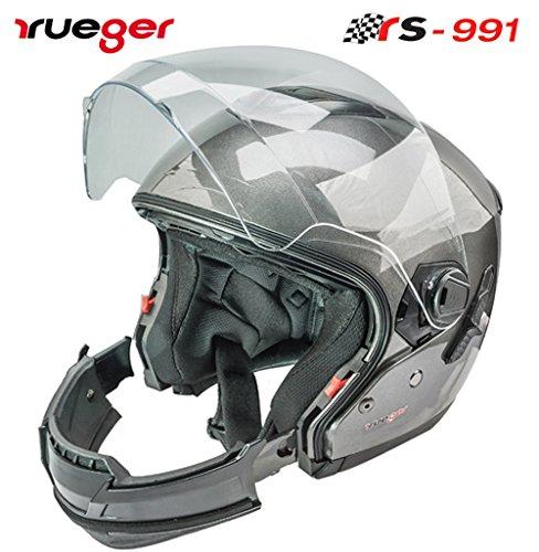 rueger Multifunktionshelm Jethelm/Integralhelm RS-991 Titanium Grau mit zusätzlichem klappbarem Sonnenvisier ECE 22/05 Größe S (55-56)