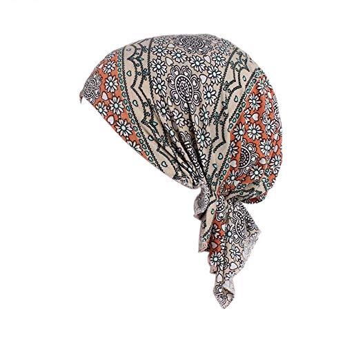 Locisne Damen bedruckte Kopftuch Schal Turban Headwear Chemo Beanie Schal Headwear für Krebs, Chemo, Haarausfall (FLORALGREEN)