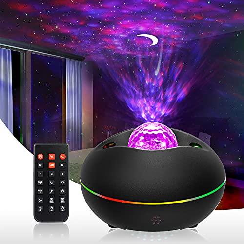 ulocool LED Sternenhimmel Projektor, Galaxy Sternenhimmel Lampe, Nachtlicht mit Fernbedienung, Rotierendes Wasserwellen Projektorlicht, Geeignet für Baby Schlafzimmer Zuhause, Party