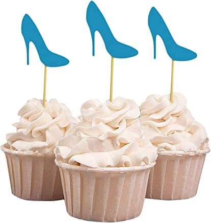 Darling Souvenir High Heel Bridal Shower Cupcake Toppers, Wedding Birthday Party Dessert Decorations - Pack of 40