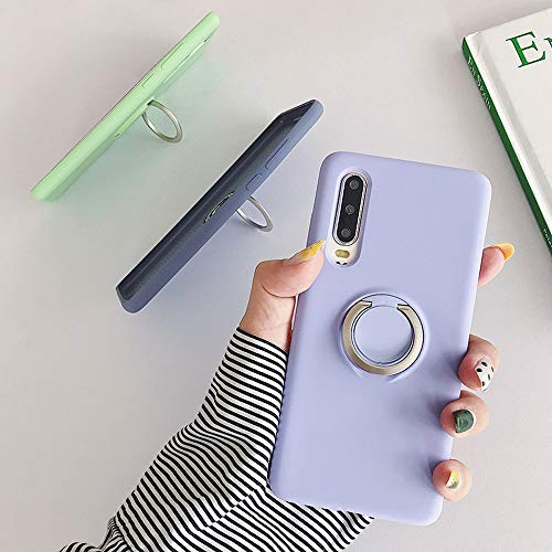 ZHYLIN Telefoonhoesje Originele Vloeibare Siliconen Zachte Case voor Samsung S10 Plus S10 Lite S10E Mode 3D Stand Ring Grip Houder Case Back Cover, Samsung S10Lite, Licht Paars