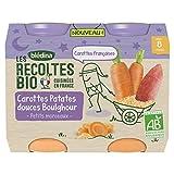 BLEDINA LES RECOLTES BIO Petits pots pour bébé dès 8 mois Carottes Patates Douces Boulghour 2x200g