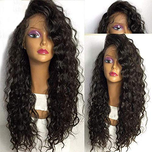 CPalsen - Peluca de pelo de fibra resistente al calor, 180% de densidad, 3 pulgadas, pelo sintético de encaje frontal, para fiesta