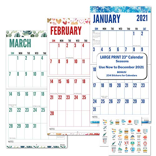 Large Print 2021 Wall Calendar (Seasons), 12x23, Use to December 2021, Stunning Big Grid Wall Calendar for Seniors, Vivid Colors, Family or Office Hanging Calendar 2020 2021