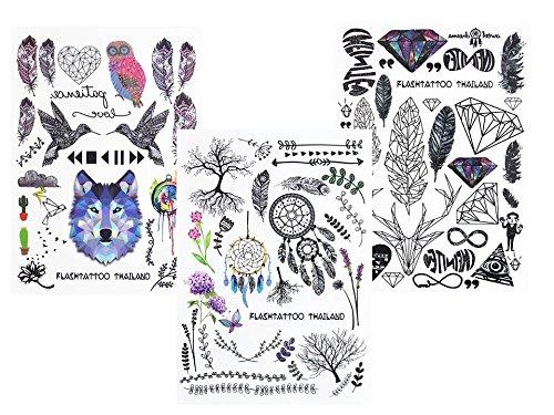 gráfica de tatuajes líneas Tatuajes 3pieza set Fake Tatuajes flash Tattoo Wolf Pájaros Muelle atrapasueños Árboles Flores