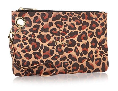 Shruti Meow Peau de léopard Pouch Sac à main d'embrayage Cosmétique Maquillage