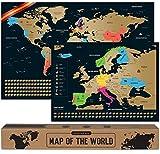 Mapa Mundi Rascar I Español I Más el mapa de Europa I Mapas del Mundo para Marcar Viajes I 68 X 43 CM I Plata I Scratch Off Travel Map