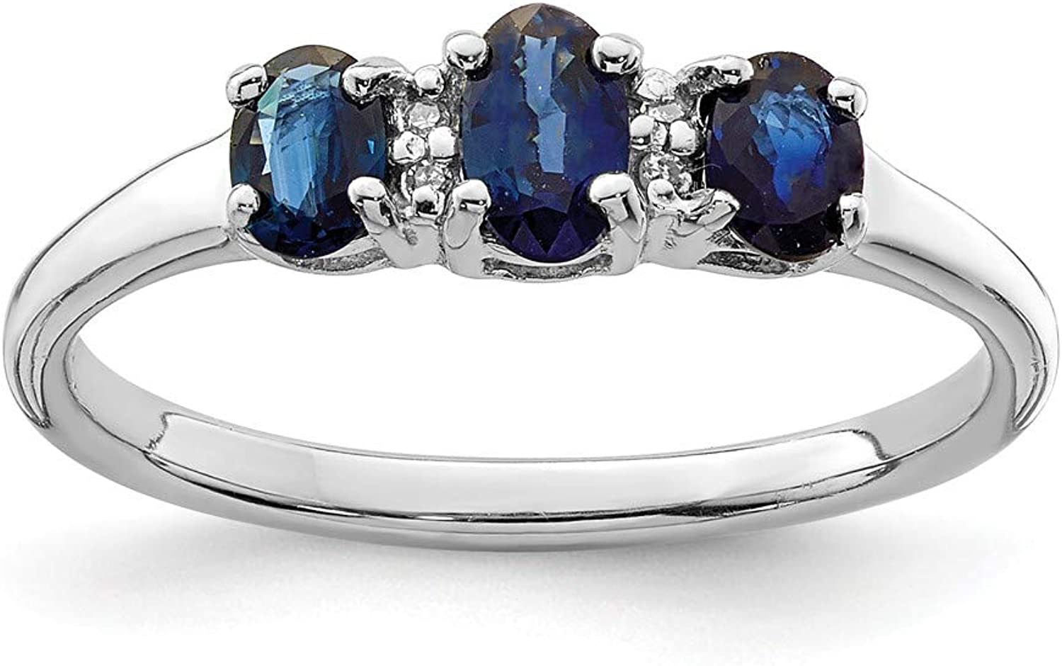 Beautiful Sterling silver 925 sterling Sterling Silver Rhodium 3 Oval Sapphire & Diamond Ring