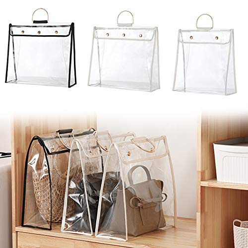 Ternence Flynn Clear Dustproof Handbag Organizer Transparent Dust Bag Clear Purse Organizer Dustproof Handbag Holder with Magnetic Snap Hanging Ring for Girls WhiteBlack
