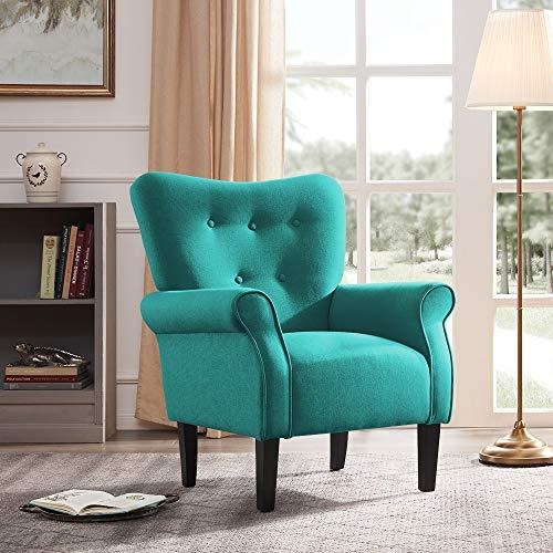 Belleze Modern Accent Chair Roll Arm Linen Living Room Bedroom w/ Wood Leg (Mallard Teal)
