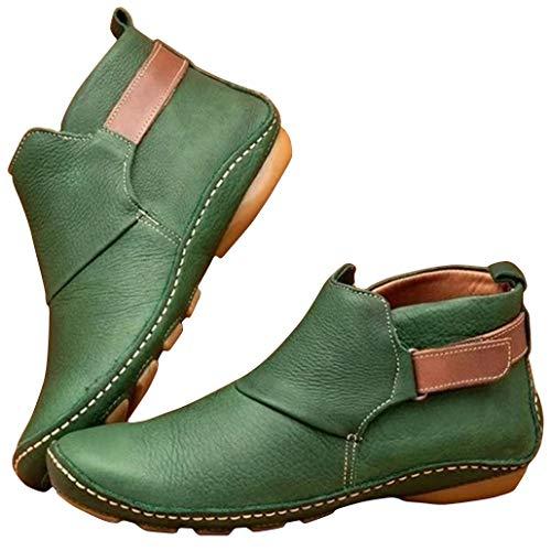 Botas de piel suave y ajustables para uso diario, cómodas y diario, de piel sintética, gruesas, cálidas y de tacón bajo para mujer