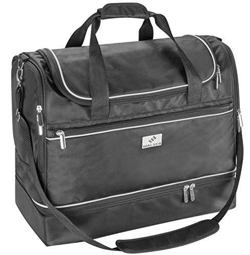 Walser 29978 Carbags Sporttasche für Auto, Trainingstasche 40x30x45cm schwarz, Fußballtasche wasserabweisend
