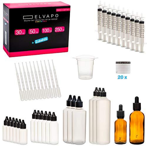 Elvapo Liquid-Flaschen Mischer-Set XXL (63-teilig) | Flaschen selber befüllen mit E-Liquids, Flüssigkeiten | Dropper Bottles, Plastik-Flaschen, Tropfflaschen| + 20 Etiketten + Pipette + Trichter